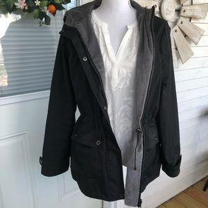 Jackets & Blazers - Reversible Black & Grey Faux Fur Hood Windbreaker
